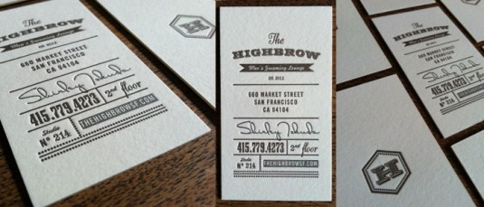 Letterpress cards, The Highbrow Men's Grooming Lounge