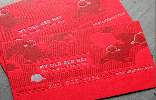 Letterpress cards, My Old Red Hat