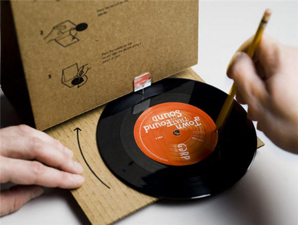 Cardboard record player made by GGRP Sound