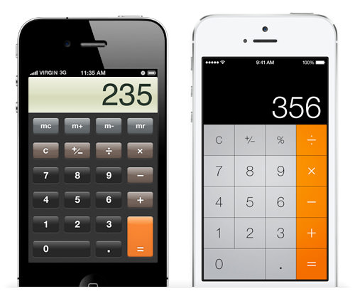 iOS calculator app, before and after