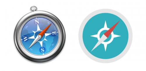 Safari icon, before and after